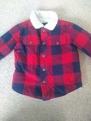 Baby Gap Flannel Plaid Fleece Lined Coat age 2 years