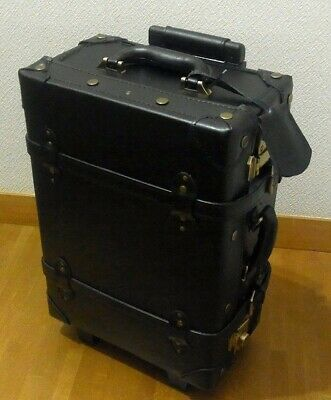 Genuine Leather Carry Bag with Cowhide TSA Lock S Black Suitcase