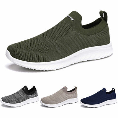 Mens Slip On Trainers Sports Shoes Mesh Gym Sock Sneakers Running Casual shoes