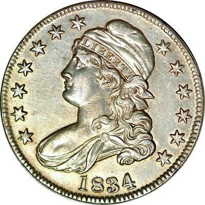 1834 50C Small Date; Small Letters Capped Bust Half Dollar AU  K8886