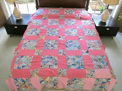 FULL Vintage Machine & Hand Pieced Beautiful Feed Sacks CALICO PUZZLE Quilt TOP
