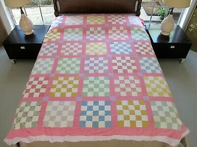 """Vintage Feed Sack Hand Pieced 16-Patch CHECKERBOARD Quilt TOP; 85"""" x 72""""; Good!"""