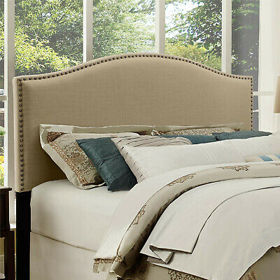 Headboard King Full Queen Size Upholstered Bedhead Beige Luxurious Linen Padded