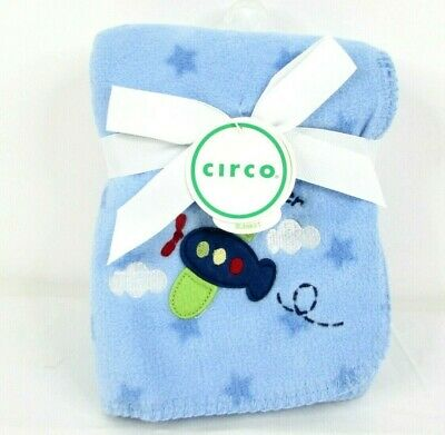 Circo Little Flyer Baby Blanket Blue Airplane Stars Fleece Security Lovey NEW