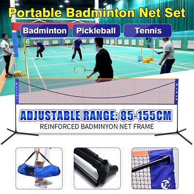 US 20FT Portable Beach Badminton Volleyball Tennis Net Kit W/ Stand Carry Bag