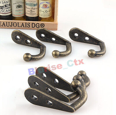 10pcs Wall Door Metal Antique Hooks Hanger For Key Clothes Coat Hat Bags Towel