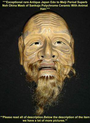 Antique Japan Edo Period Superb Noh Okina Mask of Sankojo Polychrome Ceramic