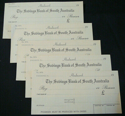 Vintage SAVINGS BANK OF SOUTH AUSTRALIA Withdrawal Slips x 5