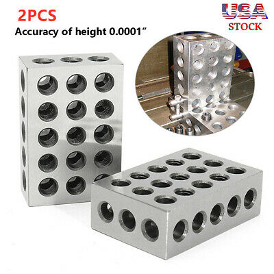 "1-2-3 Blocks 23 Holes Matched Pair Ultra Precision .0001"" Machinist 123 Jig TO"