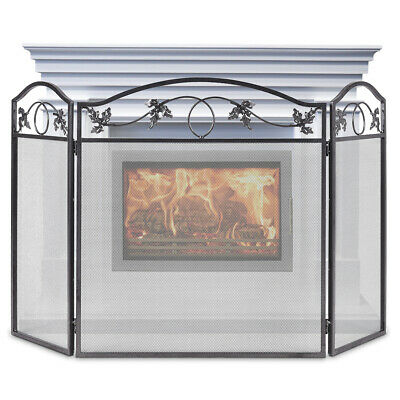 3 Panel Foldable Fire Screen Protector Fireplace Fence Freestanding Spark Guard