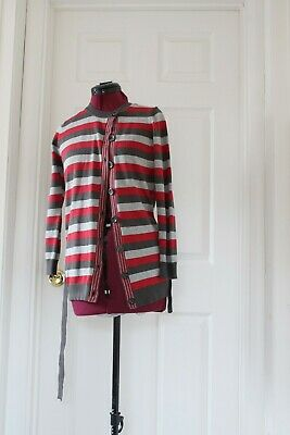 Girl's Grey And Red Striped Marks & Spencer Long Line Cardigan Size 11-12 Years