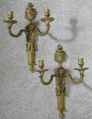 Superb Pair of Antique French Art Nouveau Double Wall Sconces in Bronze