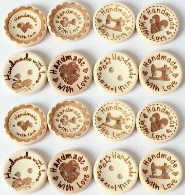 Handmade With Love Natural Wooden Round Buttons Hand Made With Love Sewing 2cm