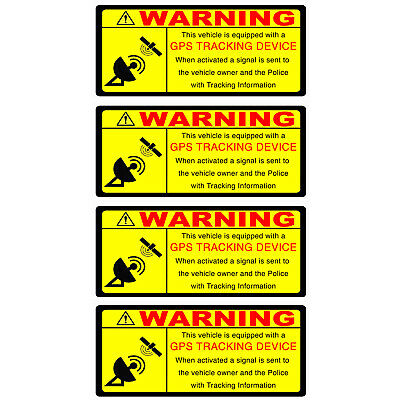 2 x GPS TRACKING Warning Stickers Inside Window application Self Adhesive FRONT