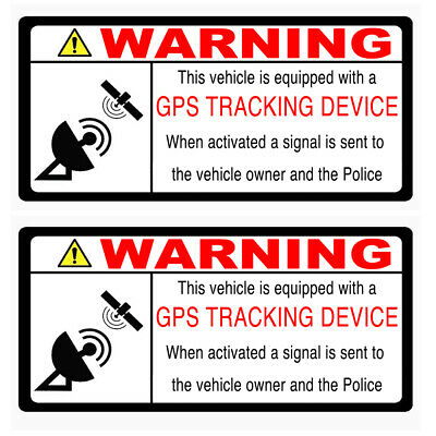 2 GPS TRACKING Warning Stickers Inside Window application Self Adhesive FRONT