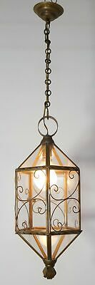 Exquisite Vintage French Brass and Glass Lantern/Hall Light