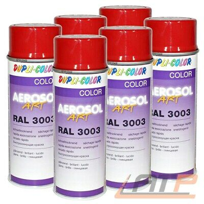 6x 400ml DUPLI COLOR AEROSOL ART RAL 3003 ROT GLANZ LACKSPRAY SPRÜH LACK SPRAY