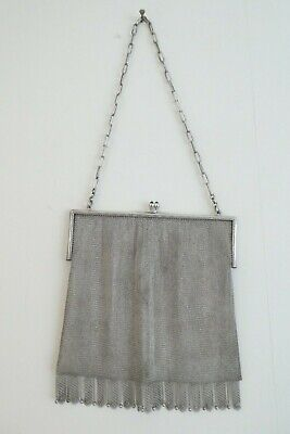 Very Fine Solid Silver Antique Chainmail Mesh Purse Bag TK & Co - all Hallmarked