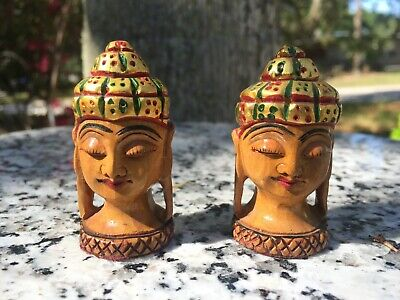 Rare Tiny Vintage Hand Carved Wood Women Heads HP Bornea Laos Stretched Earlobes