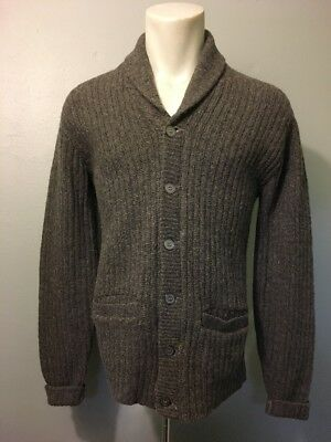 Vtg 50s 60s Grey Wool Shawl Collar Cardigan Sweater Mens M Rockabilly Boyfriend