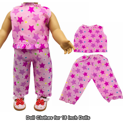 Doll Clothes Accessories Pink Star Sleeveless Tops + Pants for 18 Inch Dolls