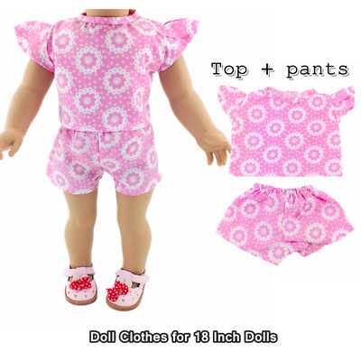 Doll Clothes Fashion Accessories Pink Top Shorts Suits for 18 Inch Dolls