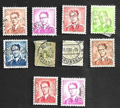 Assortment Of Old Used Belgium Stamps.