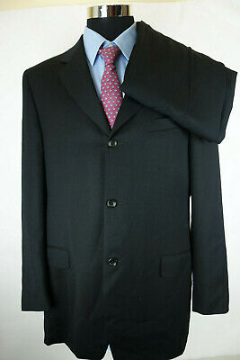 Canali Proposta Italy Men's Black 3 Button Wool Suit Jacket 44 L 35x29 Hugo Boss