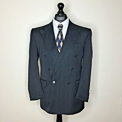 """Burtons Vintage Double Breasted Suit Grey pinstripe 40R W34"""" L29.5"""""""