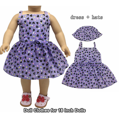 Doll Clothes Fashion Accessories Small Heart Slip Dress Hats for 18 Inch Dolls