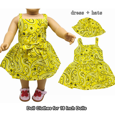 Doll Clothes Fashion Accessories Yellow Amoeba Slip Dress Hats for 18 Inch Dolls