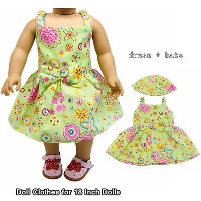 Doll Clothes Fashion Accessories Green Flower Slip Dress Hats for 18Inch Dolls