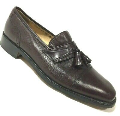 Vito Rufolo Mens 10 Leather Tassel Loafer Slip On Shoes Cap Toe Oxblood  Italy