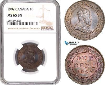 AE618, Canada, Edward VII, 1 Cent 1902, NGC MS65BN