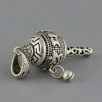 Collect Old Miao Silver Hand-Carved Exorcism T00l Delicate Miao Culture Pendant
