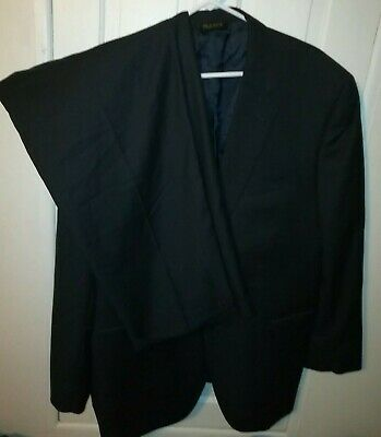 Jos A Bank Signature Gold Suit 46L Black Wool Herringbone 40x31 Pleated Pants