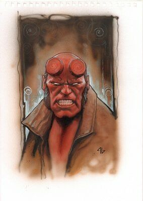 Hellboy Painted Art Portrait - Signed Art by Adi Granov