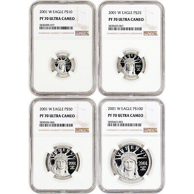 2001 W American Platinum Eagle Proof Four Coin Set NGC PF70 UCAM
