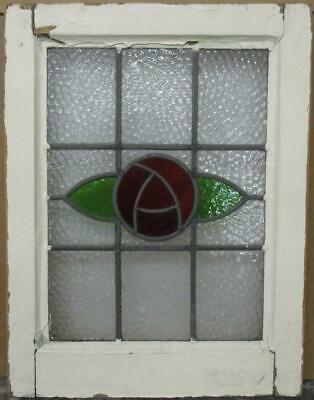 """OLD ENGLISH LEADED STAINED GLASS WINDOW Pretty Mackintosh Rose 15.5"""" x 20.25"""""""