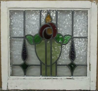 "OLD ENGLISH LEADED STAINED GLASS WINDOW Colorful Floral Design 20.25"" x 19"""
