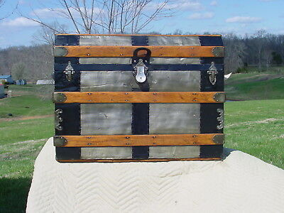 Antique Trunk  Embossed Tin & Beveled Lid   Pat'd 1880  As Much As 140 Years Old