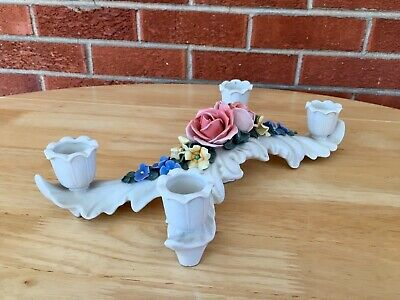 Antique German Porcelain Floral 4 Branch Candlestick Candle Holder