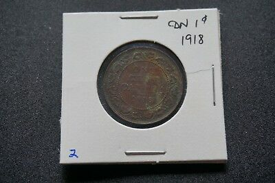 A-52 1918 Canada 1 Large Cent George V Canadian Penny Copper Coin RCM Toned