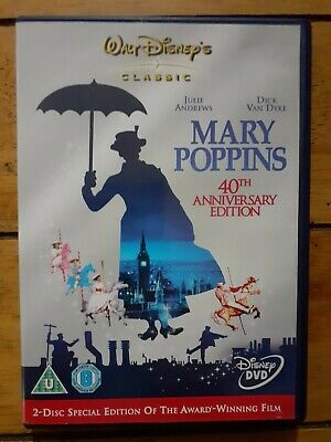 Mary Poppins 1965 DVD, 2 Disc 40th Anniversary Edition, VGC, FAST & FREE POSTAGE