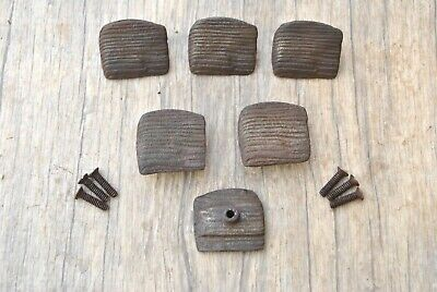 Vtg victorian Fancy cast iron cabinet drawer door knobs handles pull rustic 6pcs