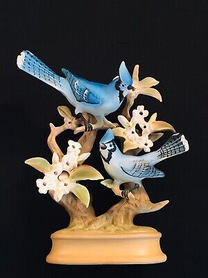 Blue Jay Birds on Branches/Flowers Hand-Painted Figurine - Made in Japan