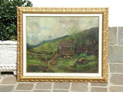 Large Painting Signed Antique Painting Oil on Canvas with Frame Golden