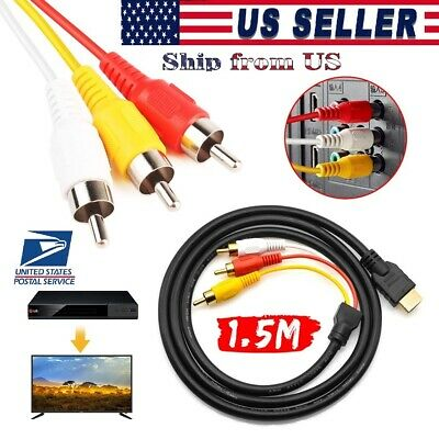 HDMI Male to 3 RCA Female av Cable Video Audio Component Converter Adapter 1080