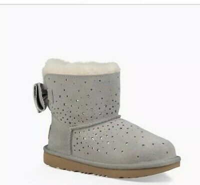 £135 Genuine Ugg Australia Stargirl Mini Classic II Grey Bow Boots US 3 UK 2
