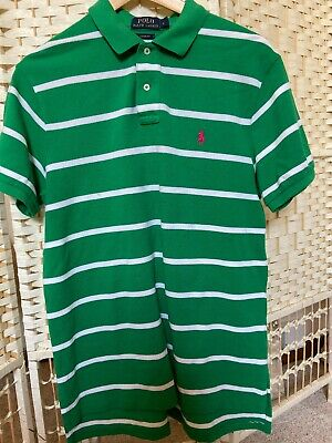 Ralph Lauren Mens Designer Green Striped Polo Tshirt Size L